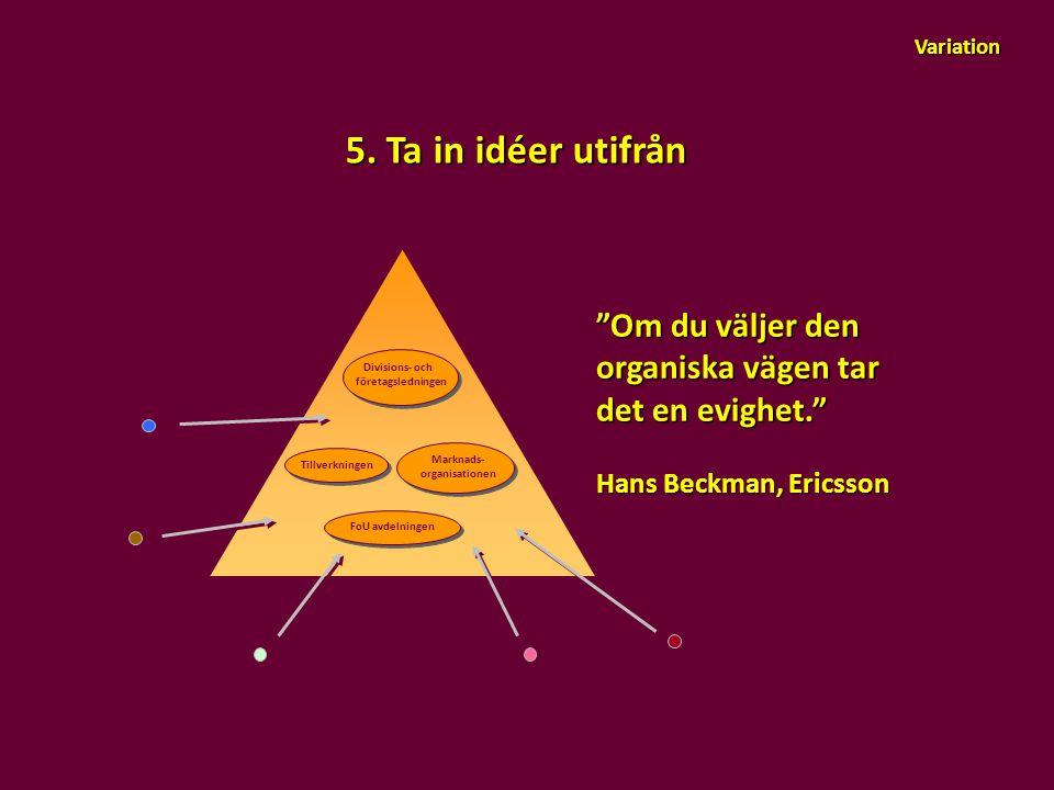 Variation 5. Ta in idéer utifrån. Om du väljer den organiska vägen tar det en evighet. Hans Beckman, Ericsson.