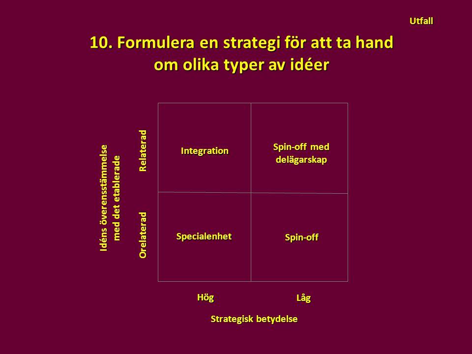 10. Formulera en strategi för att ta hand Idéns överensstämmelse