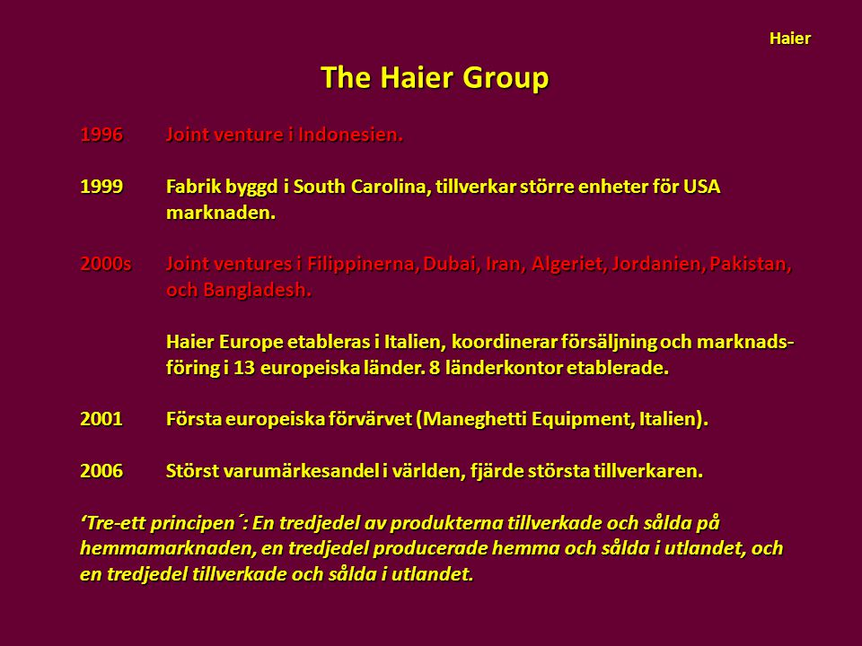 The Haier Group 1996 Joint venture i Indonesien.
