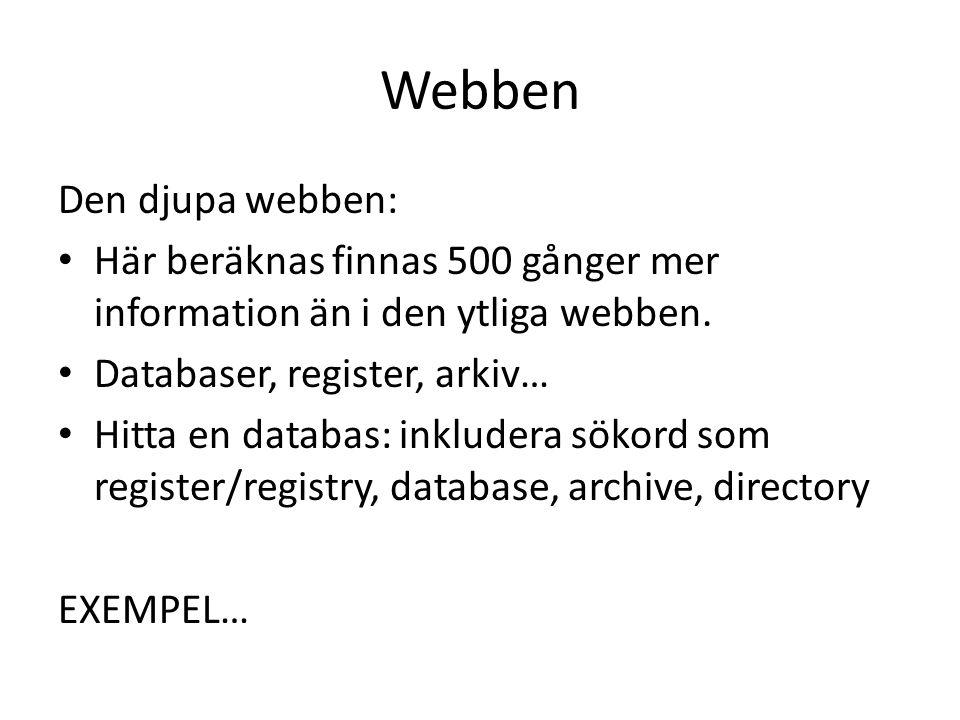 Webben Den djupa webben:
