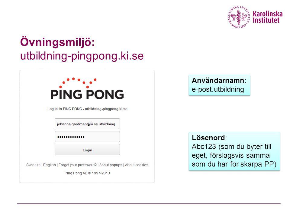 Övningsmiljö: utbildning-pingpong.ki.se