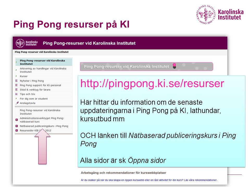 Ping Pong resurser på KI