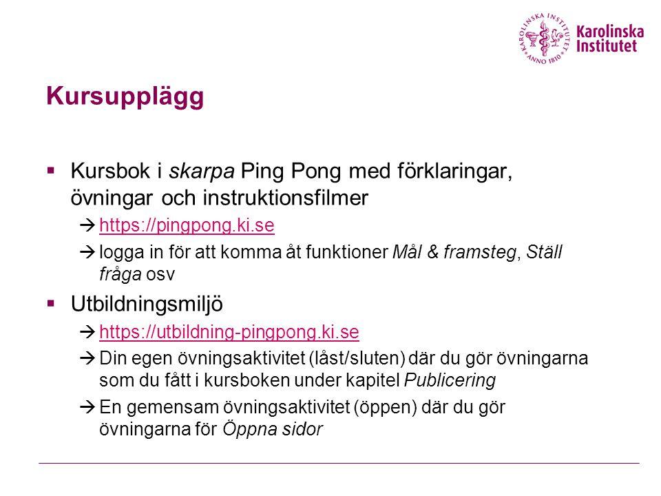 Kursupplägg Kursbok i skarpa Ping Pong med förklaringar, övningar och instruktionsfilmer. https://pingpong.ki.se.