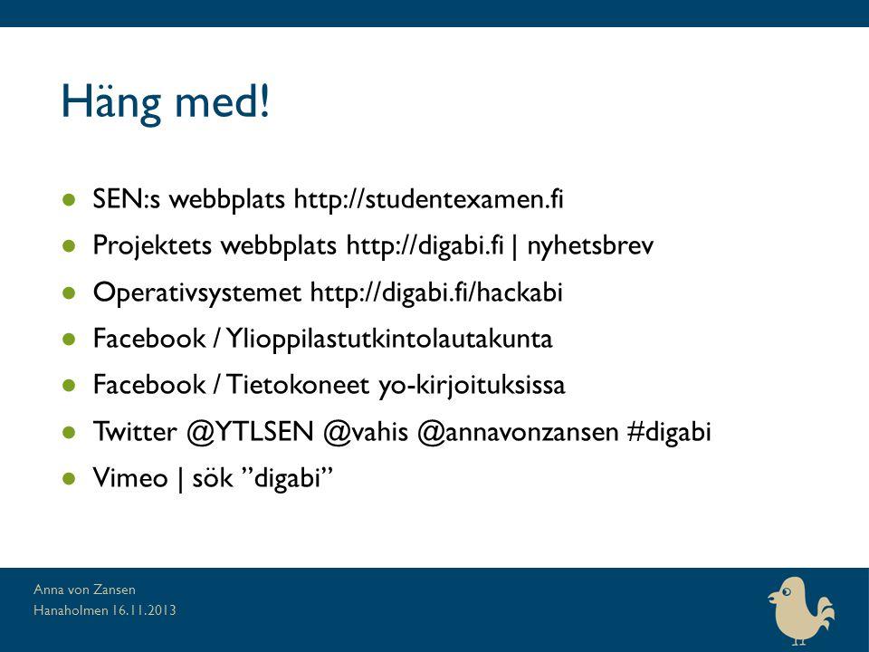 Häng med! SEN:s webbplats http://studentexamen.fi
