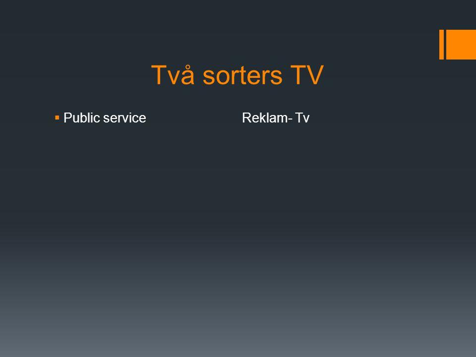 Två sorters TV Public service Reklam- Tv