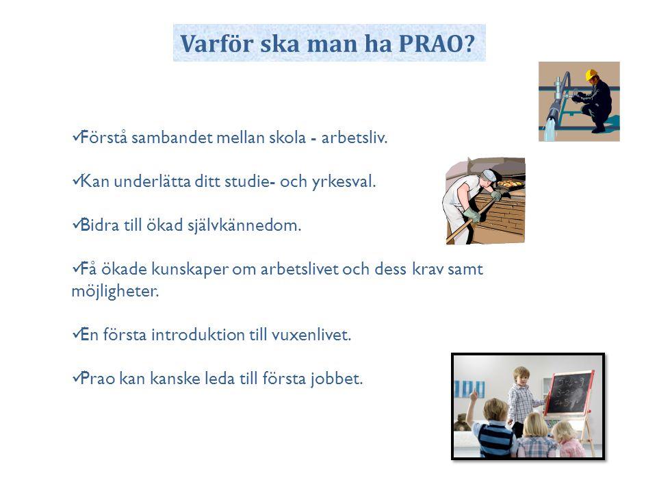 Varför ska man ha PRAO Förstå sambandet mellan skola - arbetsliv.