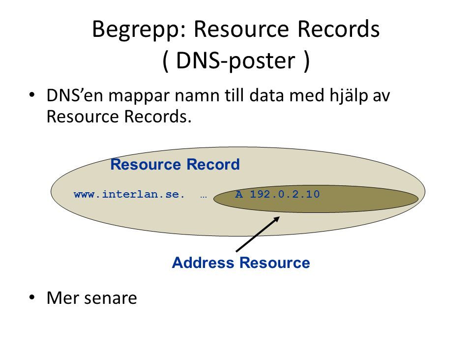 Begrepp: Resource Records ( DNS-poster )
