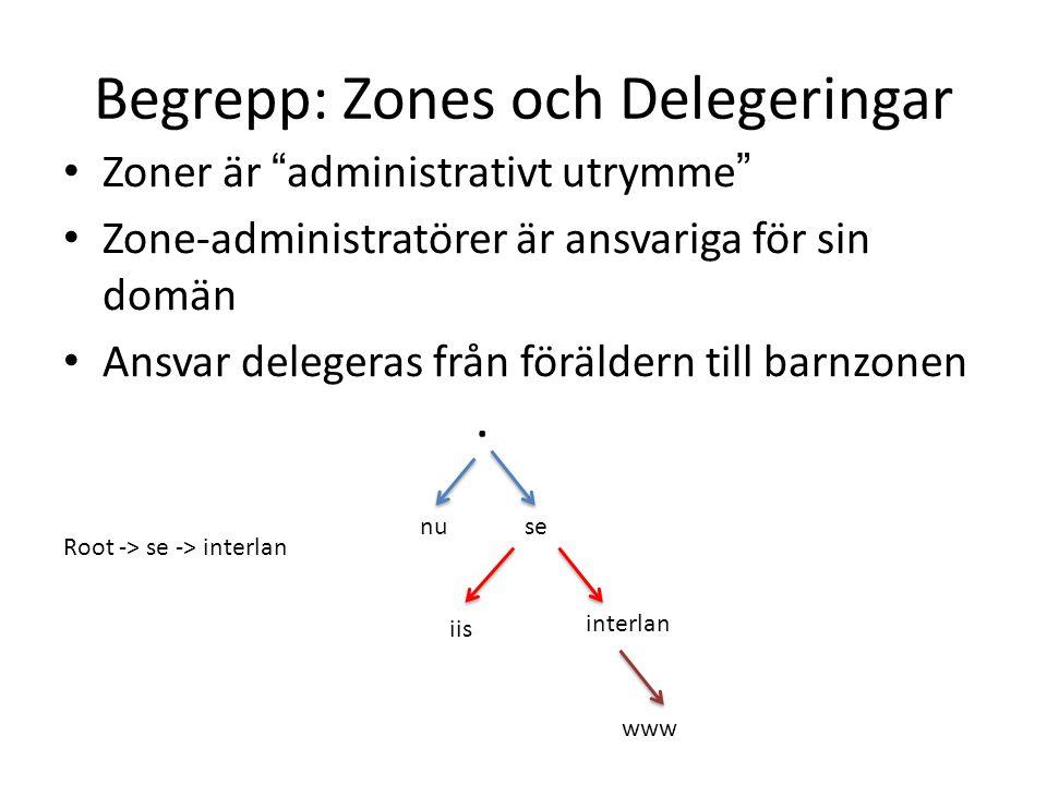Begrepp: Zones och Delegeringar