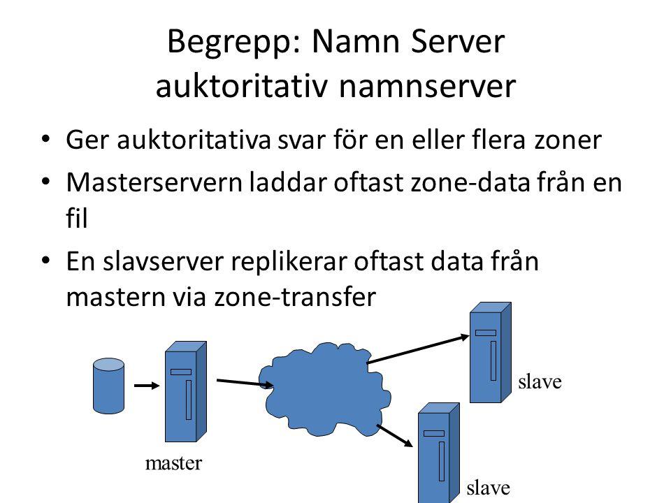 Begrepp: Namn Server auktoritativ namnserver