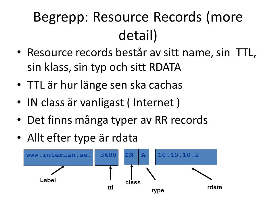 Begrepp: Resource Records (more detail)