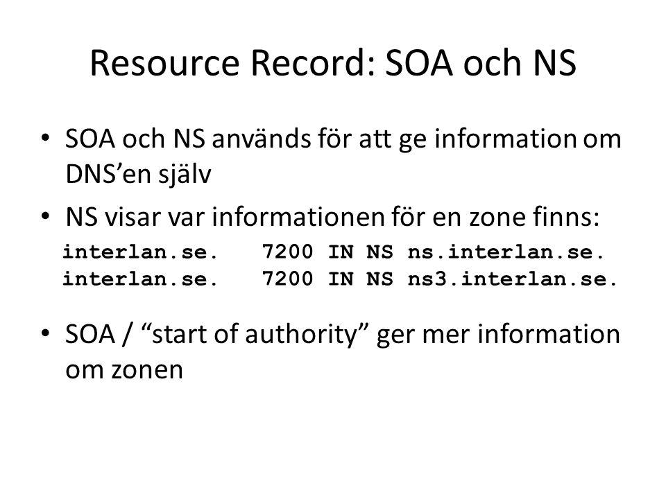 Resource Record: SOA och NS