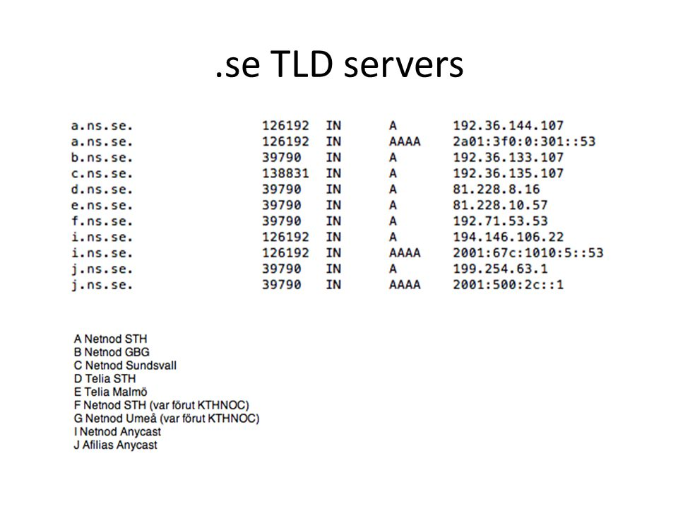.se TLD servers
