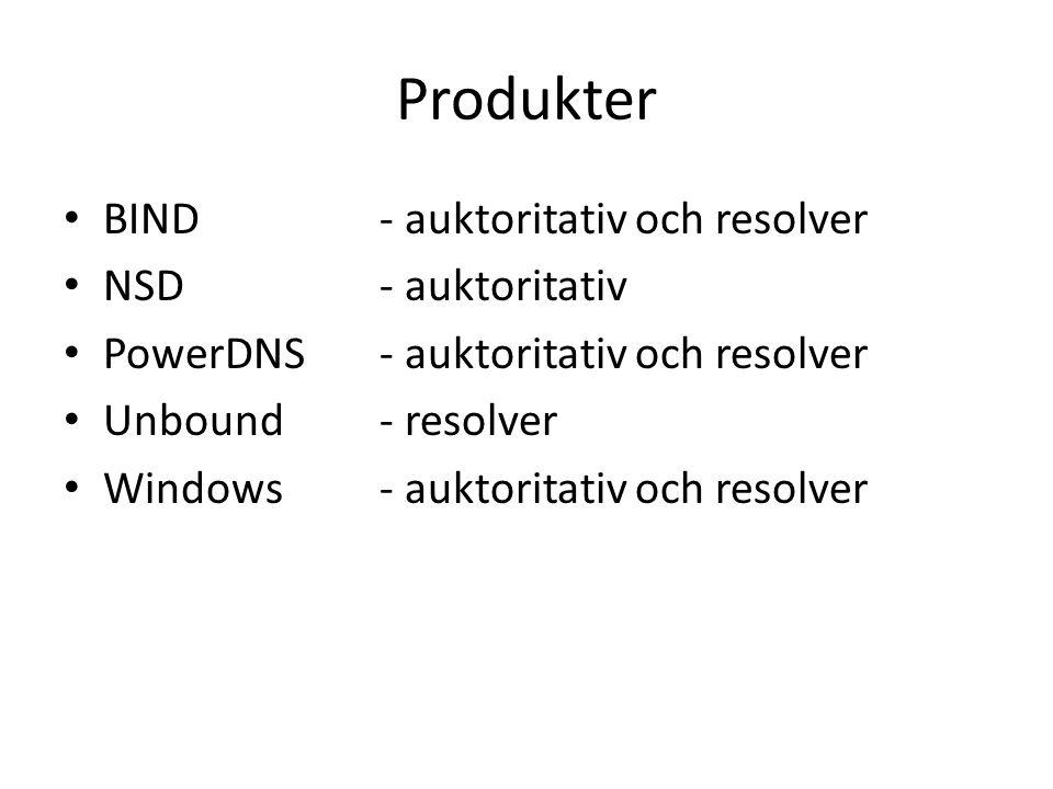 Produkter BIND - auktoritativ och resolver NSD - auktoritativ