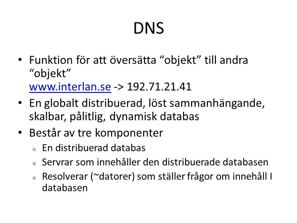 DNS Funktion för att översätta objekt till andra objekt www.interlan.se -> 192.71.21.41.