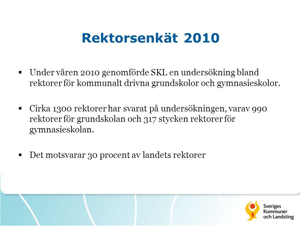 Rektorsenkät 2010 Under våren 2010 genomförde SKL en undersökning bland rektorer för kommunalt drivna grundskolor och gymnasieskolor.