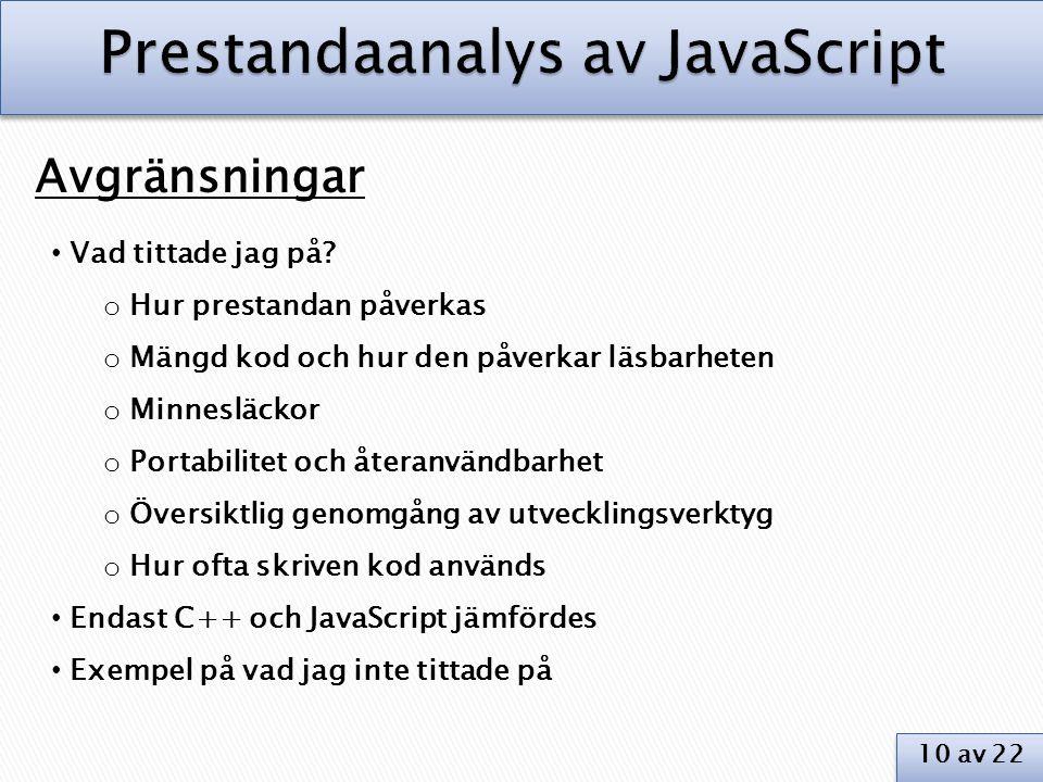 Prestandaanalys av JavaScript