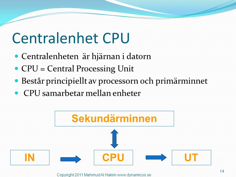 Centralenhet CPU Sekundärminnen IN CPU UT