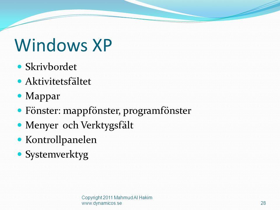 Windows XP Skrivbordet Aktivitetsfältet Mappar