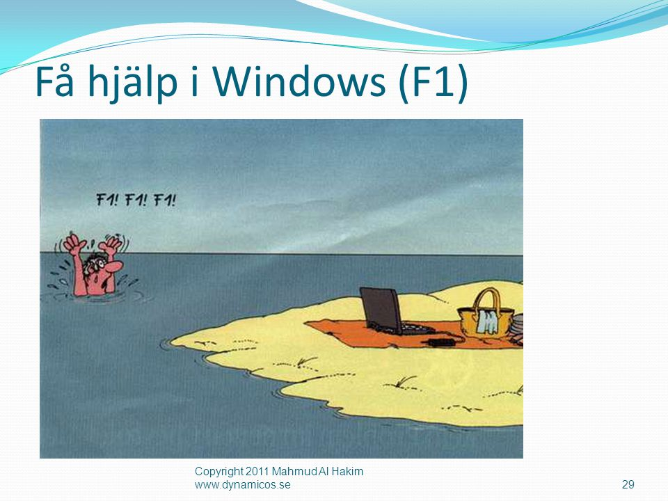 Få hjälp i Windows (F1) Copyright 2011 Mahmud Al Hakim www.dynamicos.se