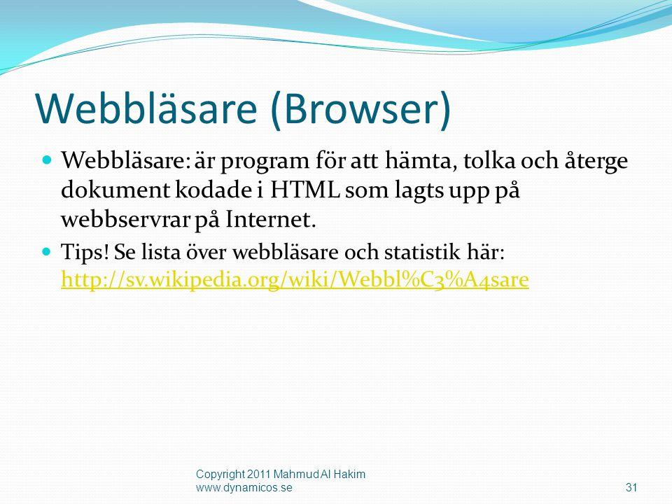 Webbläsare (Browser) Webbläsare: är program för att hämta, tolka och återge dokument kodade i HTML som lagts upp på webbservrar på Internet.