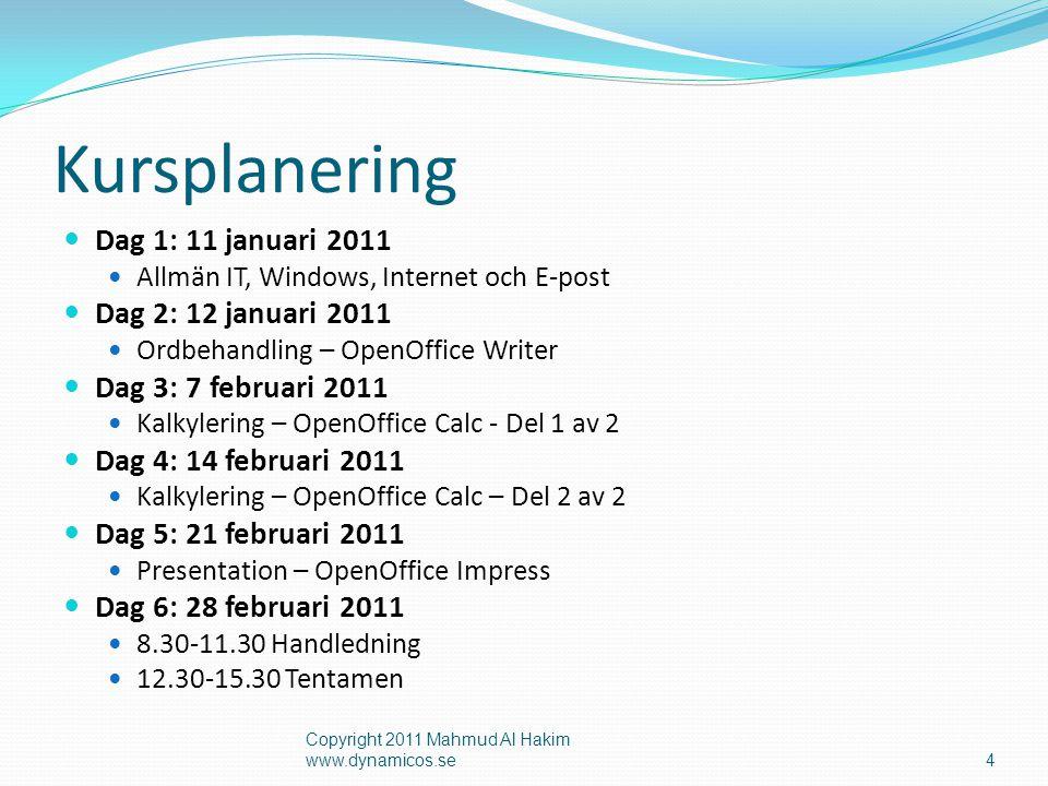 Kursplanering Dag 1: 11 januari 2011 Dag 2: 12 januari 2011