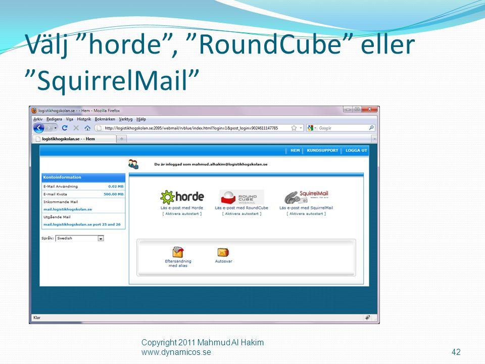 Välj horde , RoundCube eller SquirrelMail