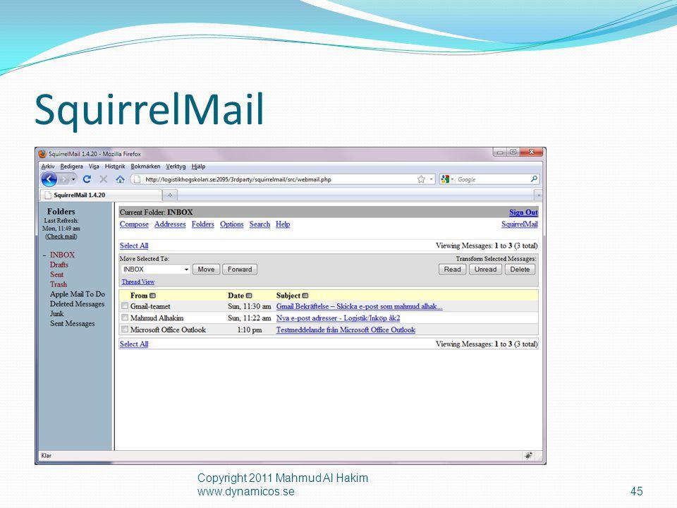 SquirrelMail Copyright 2011 Mahmud Al Hakim www.dynamicos.se