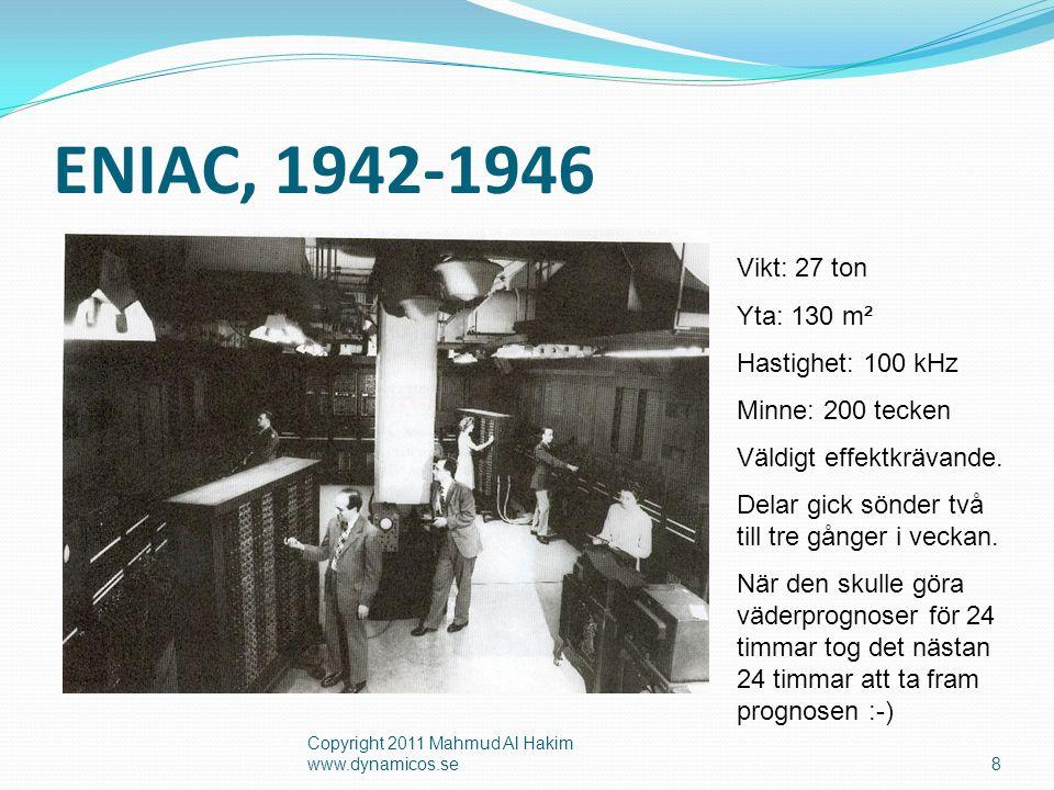 ENIAC, 1942-1946 Vikt: 27 ton Yta: 130 m² Hastighet: 100 kHz