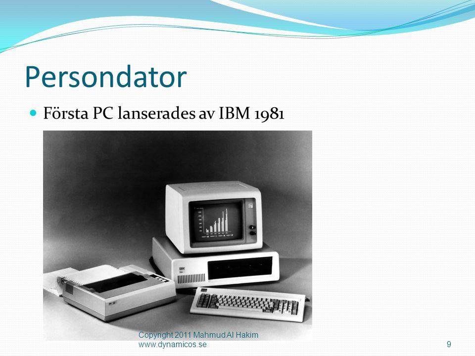 Persondator Första PC lanserades av IBM 1981
