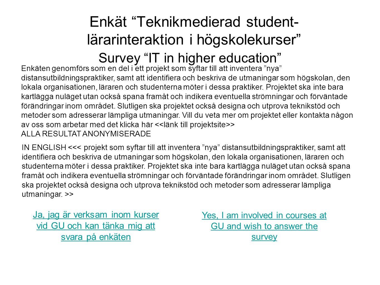 Enkät Teknikmedierad student-lärarinteraktion i högskolekurser