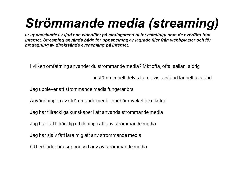 Strömmande media (streaming) är uppspelande av ljud och videofiler på mottagarens dator samtidigt som de överförs från Internet. Streaming används både för uppspelning av lagrade filer från webbplatser och för mottagning av direktsända evenemang på Internet.
