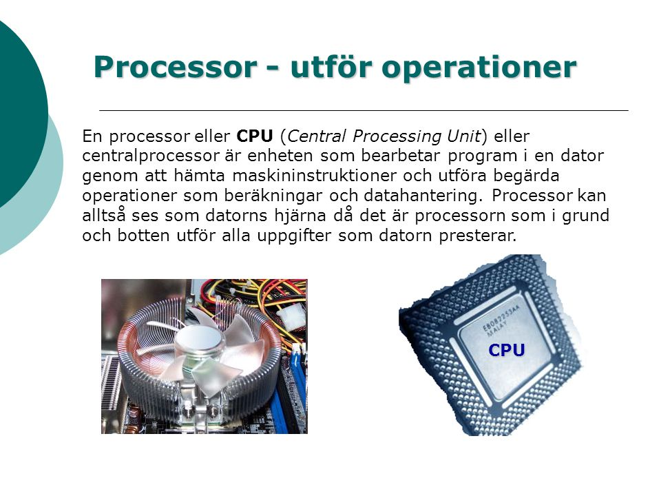 Processor - utför operationer