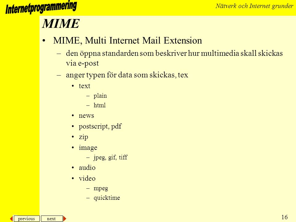 MIME MIME, Multi Internet Mail Extension