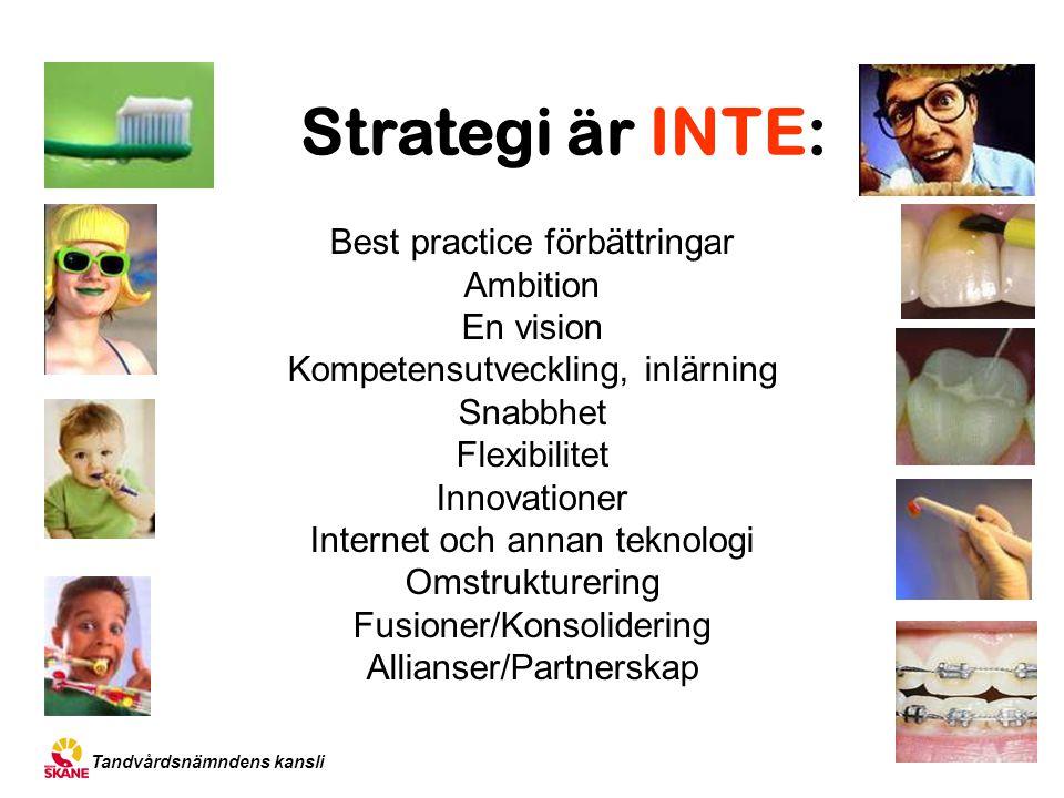 Strategi är INTE: Best practice förbättringar Ambition En vision