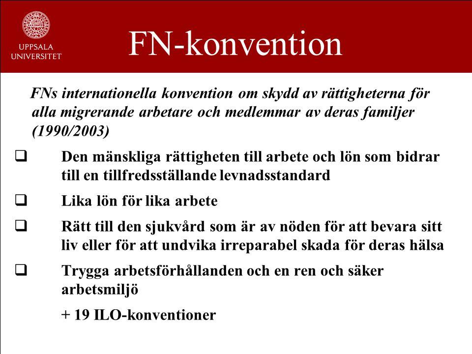 FN-konvention FNs internationella konvention om skydd av rättigheterna för alla migrerande arbetare och medlemmar av deras familjer (1990/2003)