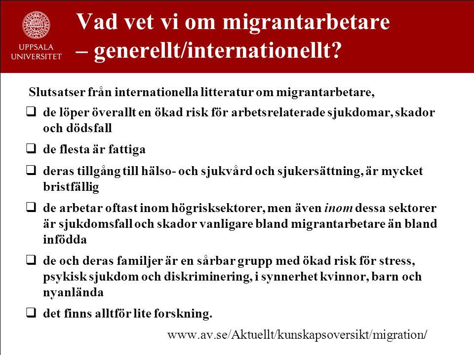 Vad vet vi om migrantarbetare – generellt/internationellt