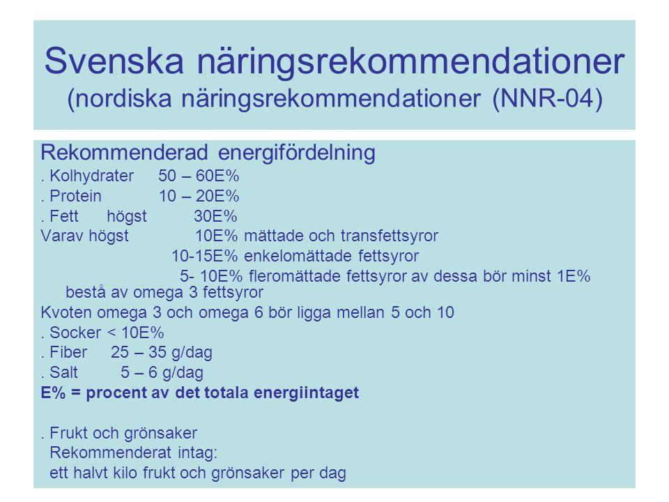 Svenska näringsrekommendationer (nordiska näringsrekommendationer (NNR-04)