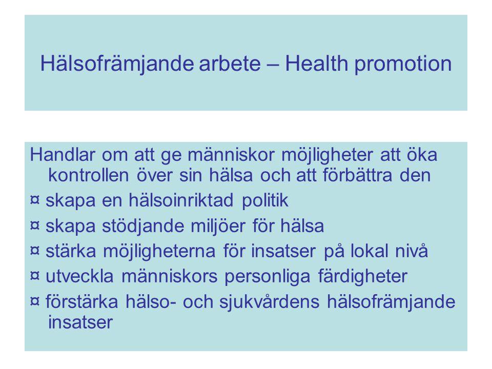 Hälsofrämjande arbete – Health promotion