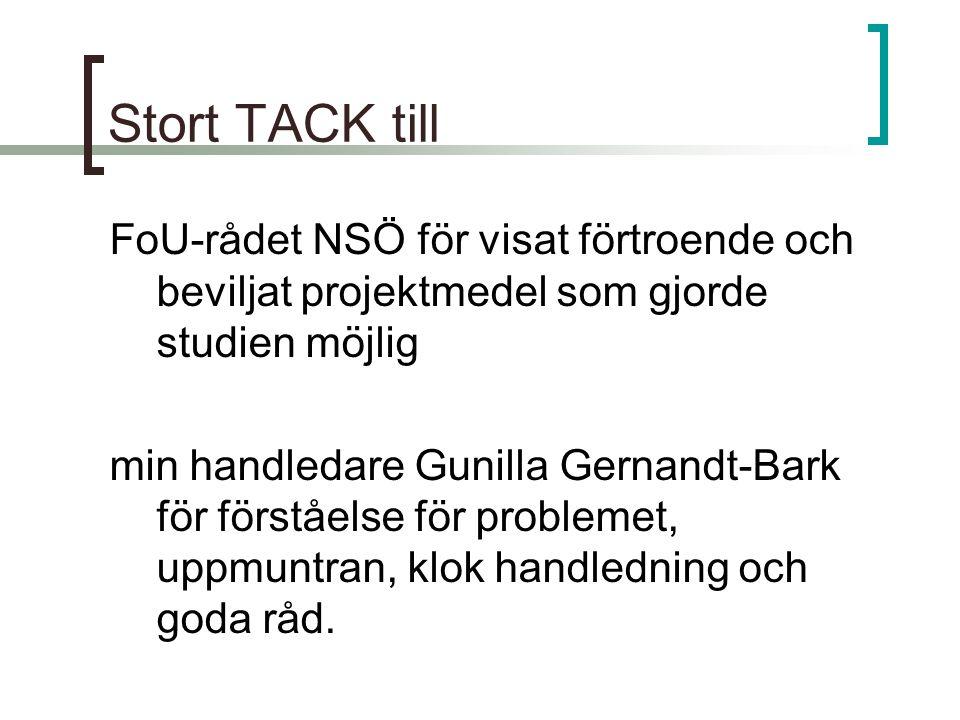 Stort TACK till FoU-rådet NSÖ för visat förtroende och beviljat projektmedel som gjorde studien möjlig.