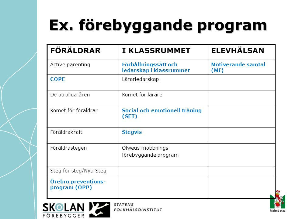 Ex. förebyggande program