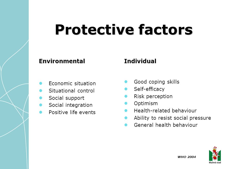 Protective factors Environmental Individual Good coping skills