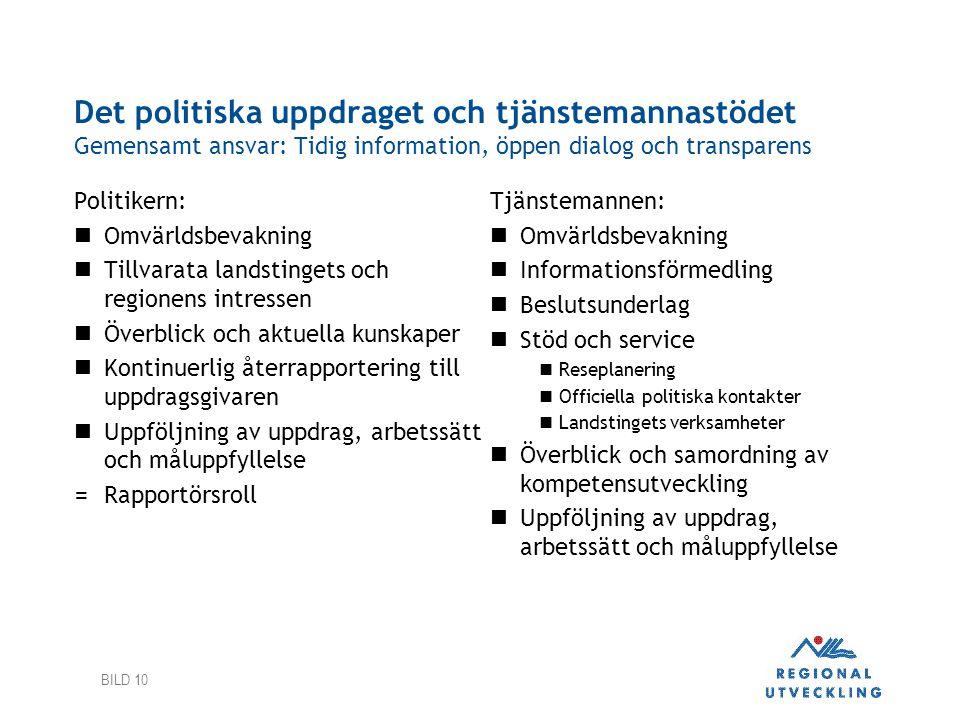 Det politiska uppdraget och tjänstemannastödet Gemensamt ansvar: Tidig information, öppen dialog och transparens