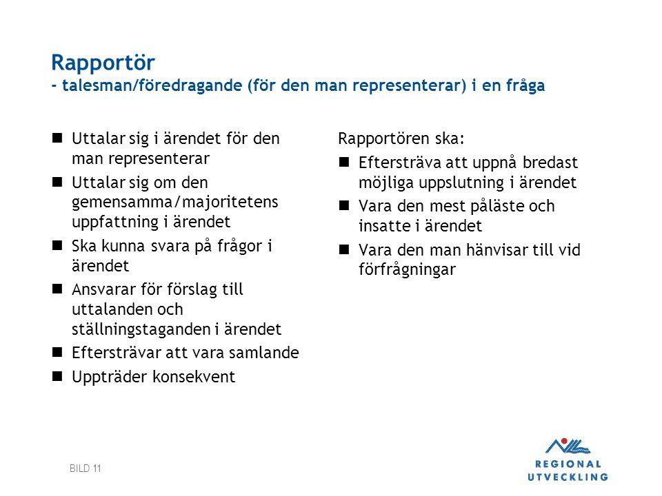 Rapportör - talesman/föredragande (för den man representerar) i en fråga