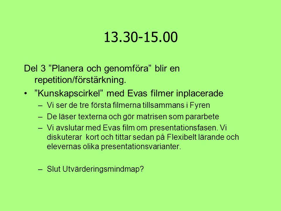 13.30-15.00 Del 3 Planera och genomföra blir en repetition/förstärkning. Kunskapscirkel med Evas filmer inplacerade.
