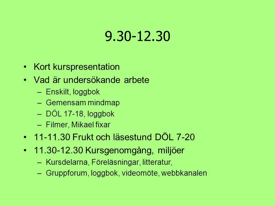 9.30-12.30 Kort kurspresentation Vad är undersökande arbete