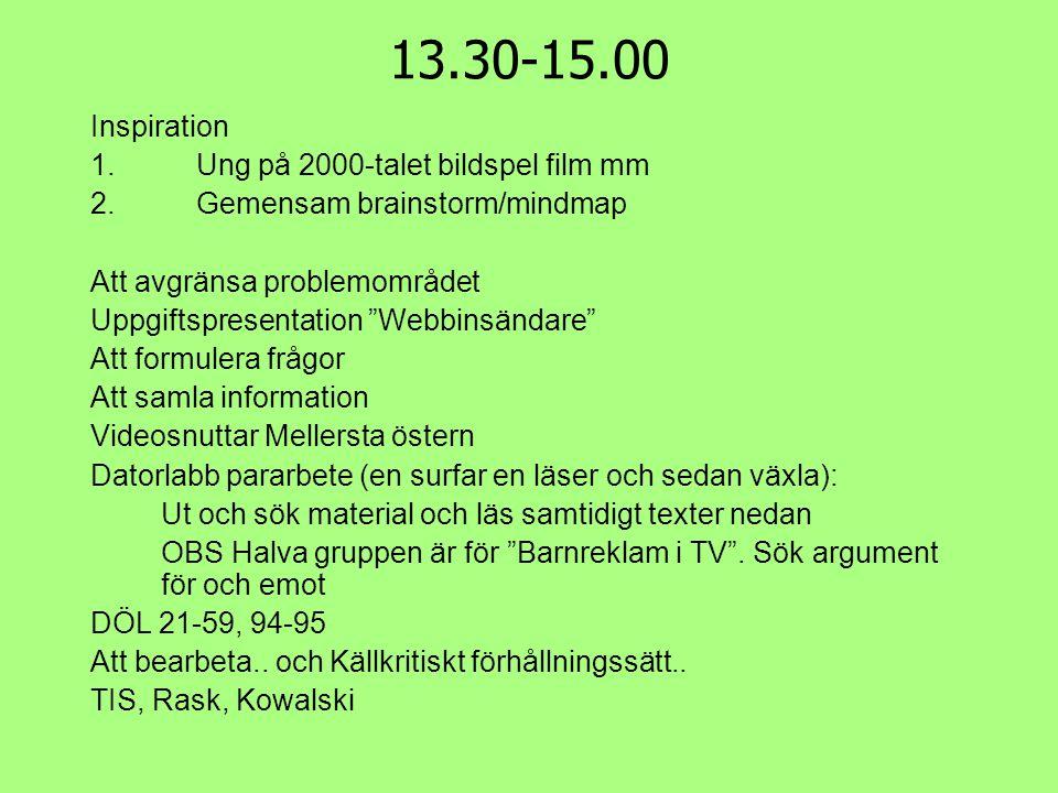 13.30-15.00 Inspiration Ung på 2000-talet bildspel film mm