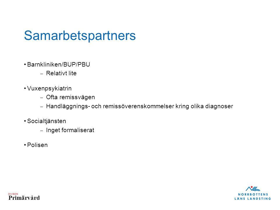 Samarbetspartners Barnkliniken/BUP/PBU Relativt lite Vuxenpsykiatrin