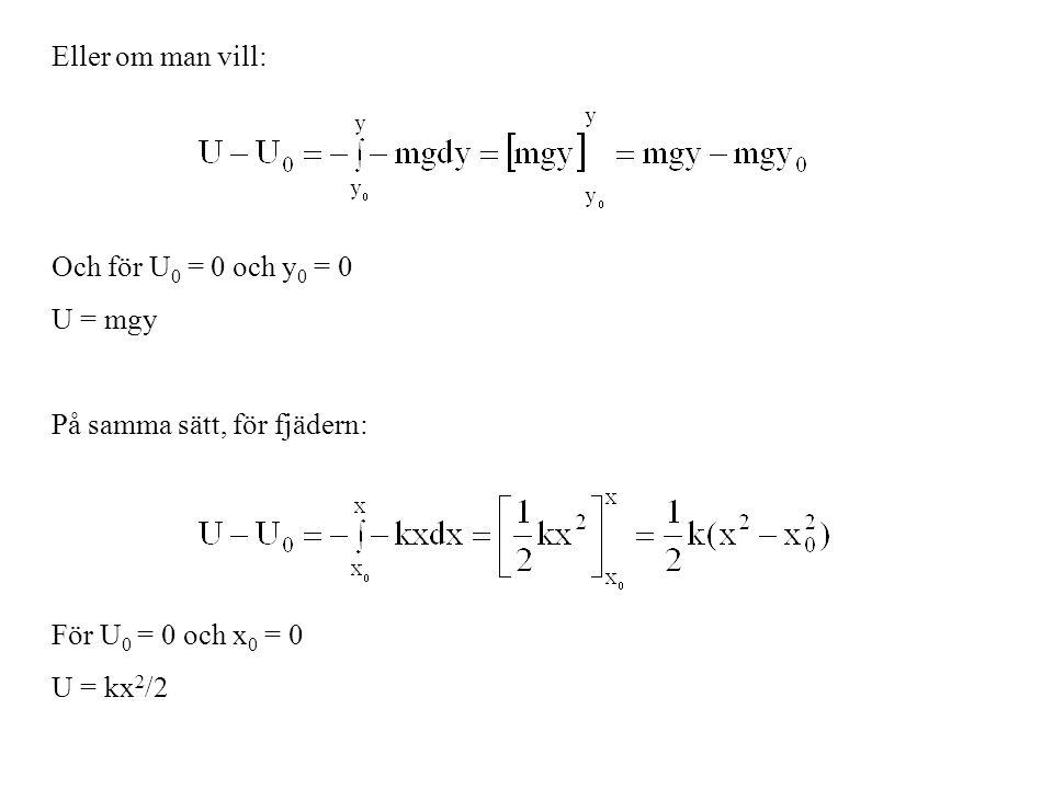 Eller om man vill: Och för U0 = 0 och y0 = 0. U = mgy. På samma sätt, för fjädern: För U0 = 0 och x0 = 0.