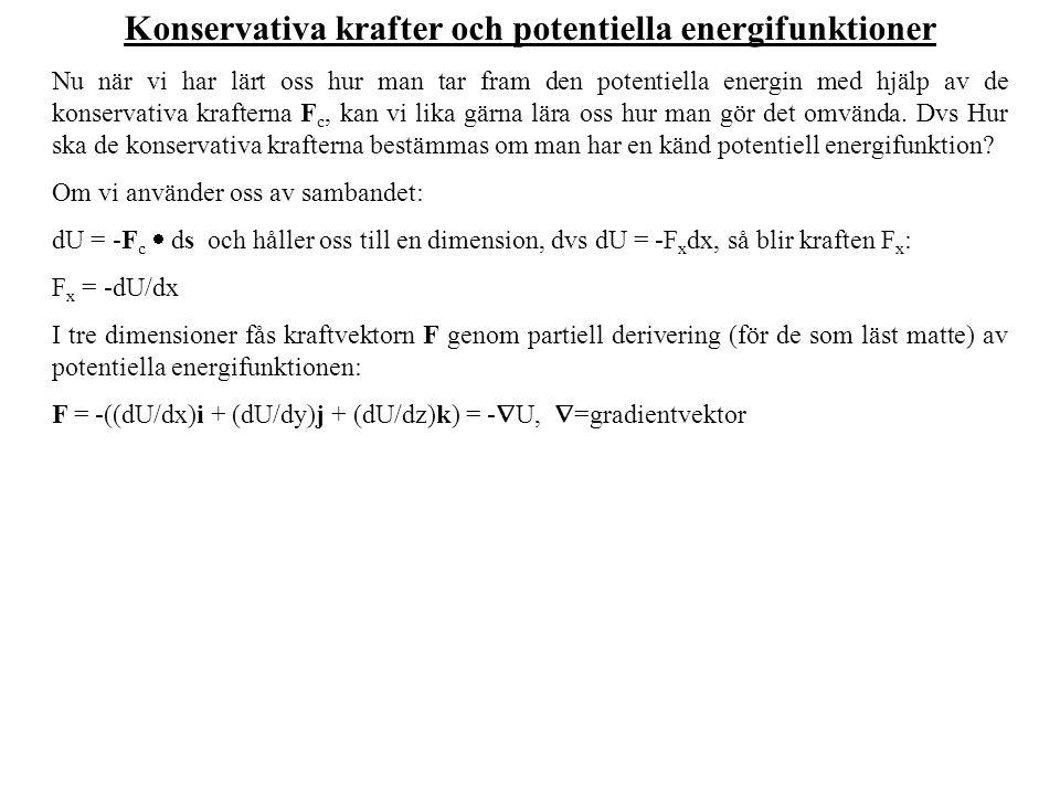 Konservativa krafter och potentiella energifunktioner