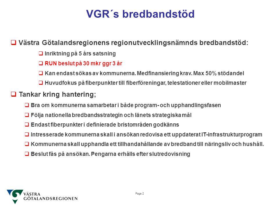 VGR´s bredbandstöd Västra Götalandsregionens regionutvecklingsnämnds bredbandstöd: Inriktning på 5 års satsning.